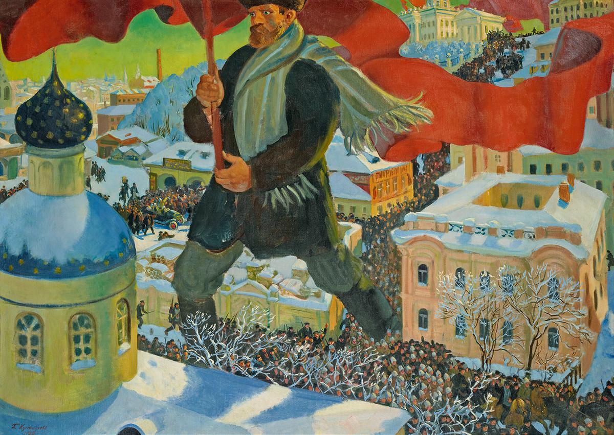 Le bolchevik, Boris Kustodiev, 1920