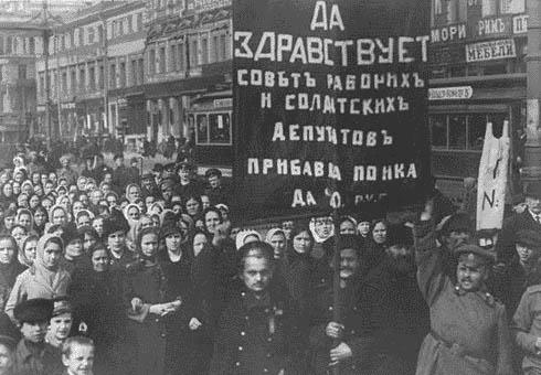 Un rassemblement en février 1917