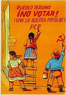 """Propagande du PCP : """"Peuple péruvien, ne vote pas ! Vive la guerre populaire ! PCP"""""""