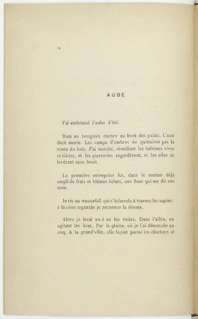 Une page des Illuminations, de l'édition de 1886
