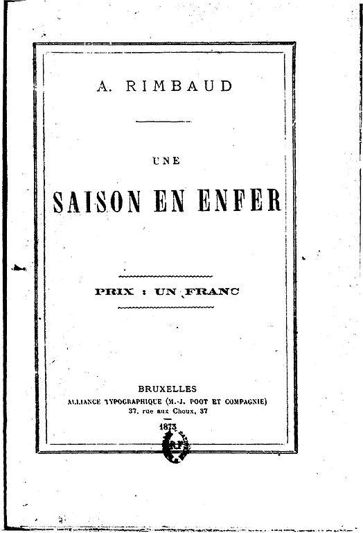 Une saison en enfer, la couverture de l'oeuvre de 1873